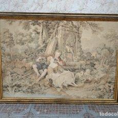 Antigüedades: ANTIGUO TAPIZ ENMARCADO. Lote 176812007