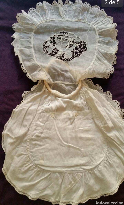 Antigüedades: Bolso de bebé siglo XIX con puntillas , encajes y motivo central con Ángel. - Foto 3 - 176827709