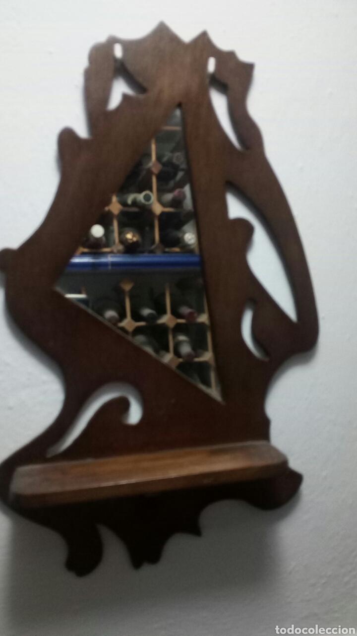 DOS REPISAS ANTIGUAS MADERA CON ESPEJO (Antigüedades - Muebles Antiguos - Repisas Antiguas)