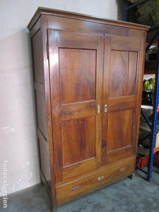 Antigüedades: Antiguo Armario Isabelino - Madera de Nogal - Altura 210 cm - S. XIX - Foto 3 - 176843622