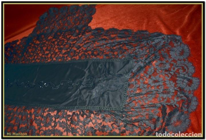 Antigüedades: Antigua mantilla de terno o goyesca con pedreria mantilla ofrenda - Foto 4 - 176918408