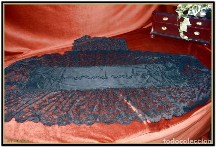 Antigüedades: Antigua mantilla de terno o goyesca con pedreria mantilla ofrenda - Foto 5 - 176918408
