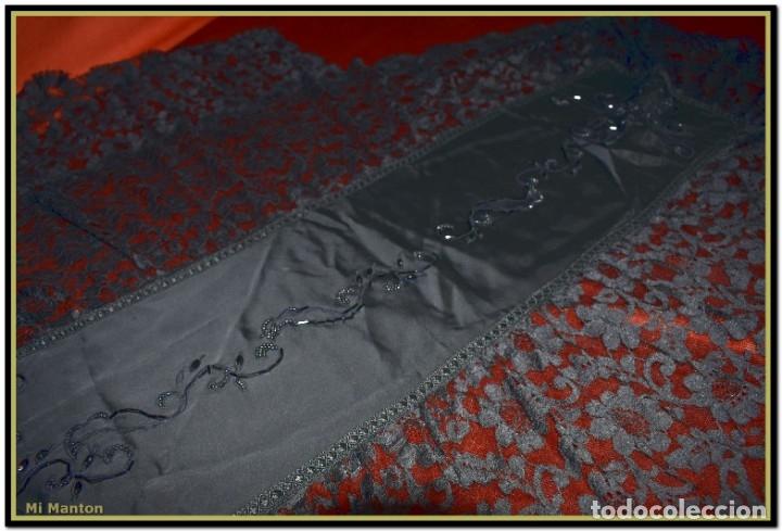 Antigüedades: Antigua mantilla de terno o goyesca con pedreria mantilla ofrenda - Foto 6 - 176918408