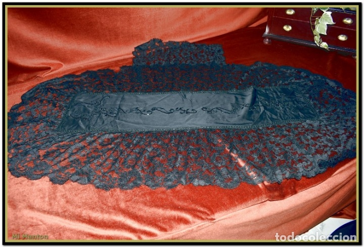 Antigüedades: Antigua mantilla de terno o goyesca con pedreria mantilla ofrenda - Foto 11 - 176918408