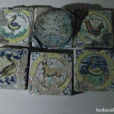 Antigüedades: SEIS AZULEJOS TRIANA DE AVES. Lote 176928065