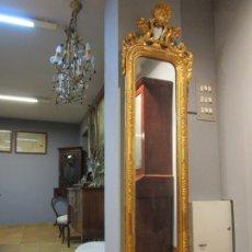 Antigüedades: PRECIOSO ESPEJO LUIS XV - CORNUCOPIA - MARCO EN MADERA TALLADA Y DORADA - MEDIDAS 50X195 - S.XVIII. Lote 176962365