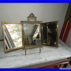 Antigüedades: ESPEJO DE TOCADOR EN BRONCE DORADO ANTIGUO . Lote 176988189