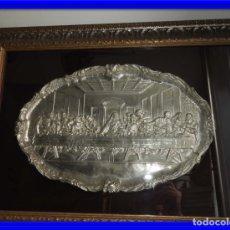 Antigüedades: CUADRO DE LA ULTIMA CENA EN METAL PLATEADO MUY BIEN ENMARCADO. Lote 176988324