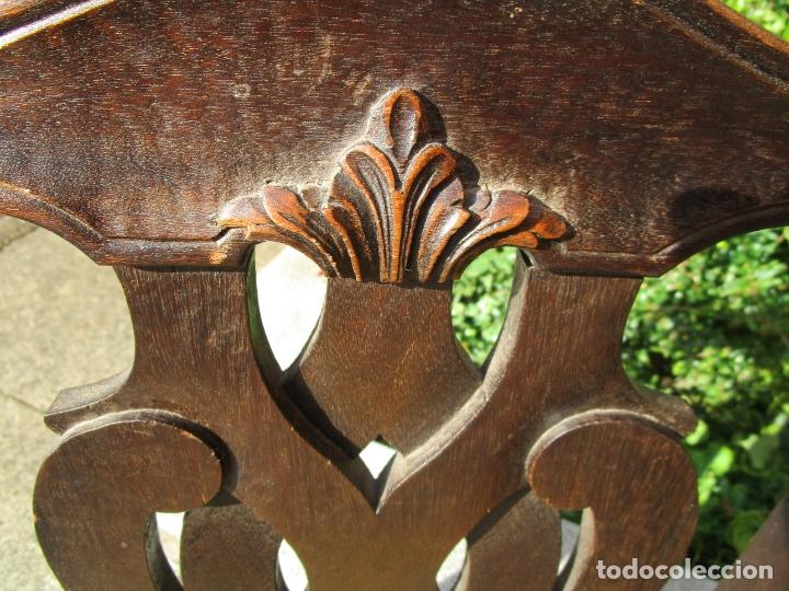 Antigüedades: Pareja de Sillas Estilo Chipendal - Silla en Madera de Roble - Patas en Forma de Garra - Foto 10 - 176988862