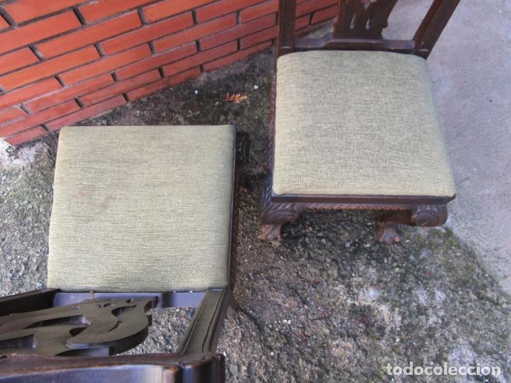 Antigüedades: Pareja de Sillas Estilo Chipendal - Silla en Madera de Roble - Patas en Forma de Garra - Foto 15 - 176988862
