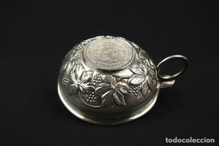 Antigüedades: Antigua bandeja o cenicero con moneda de 5 pesetas Plata Española Contraste Estrella - Foto 6 - 176999539