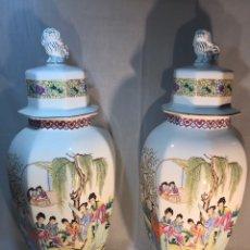 Antigüedades: 2 JARRONES TIBOR PORCELANA- CHINA- 71 CM. Lote 177008215