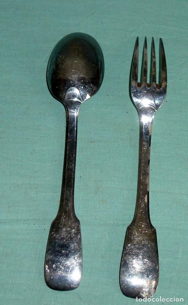 Antigüedades: Cuchara y tenedor punzonado - 60 Gr - Foto 4 - 177010937