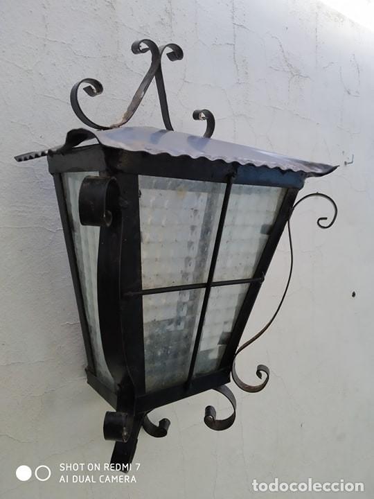 ANTIGUO APLIQUE PARED HIERRO EXTERIOR IDEAL JARDIN CASA RURAL (Antigüedades - Iluminación - Apliques Antiguos)