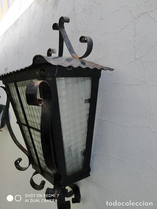 Antigüedades: antiguo aplique pared hierro exterior ideal jardin casa rural - Foto 7 - 177044625