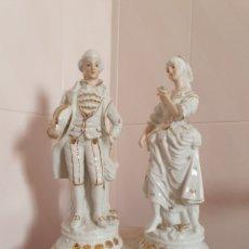Antigüedades: PRECIOSA PAREJA DAMA Y CABALLERO REALIZADA EN PORCELANA. Lote 177047635