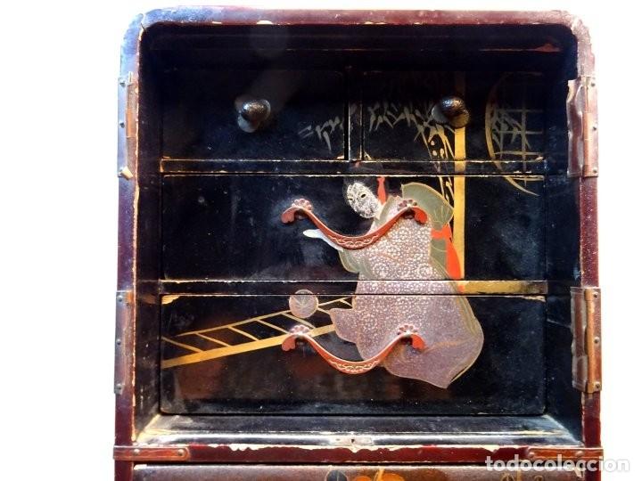 Antigüedades: ANTIGUO JOYERO – ARMARIO TOCADOR MINIATURA – LACADO - JAPÓN – JAPONISME - Foto 2 - 177055227