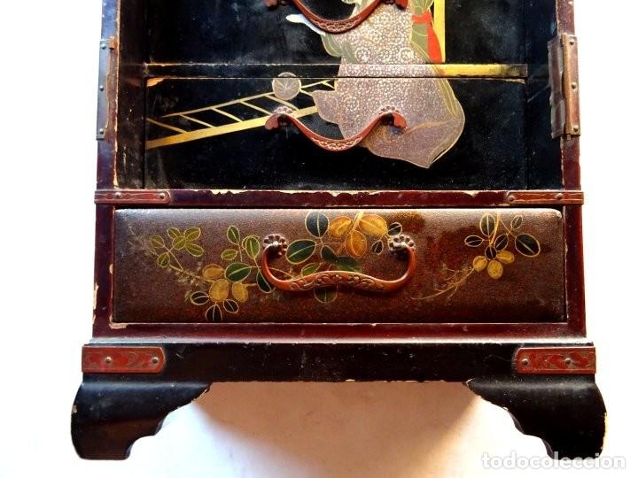 Antigüedades: ANTIGUO JOYERO – ARMARIO TOCADOR MINIATURA – LACADO - JAPÓN – JAPONISME - Foto 3 - 177055227