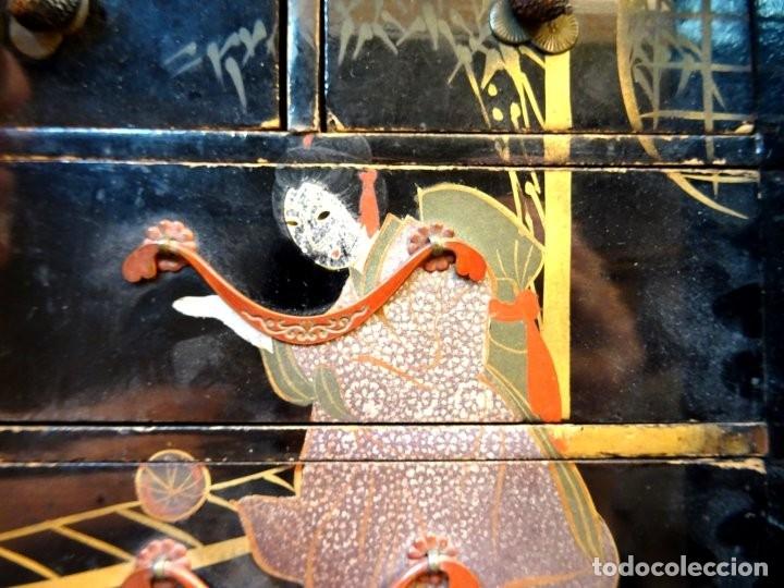 Antigüedades: ANTIGUO JOYERO – ARMARIO TOCADOR MINIATURA – LACADO - JAPÓN – JAPONISME - Foto 4 - 177055227