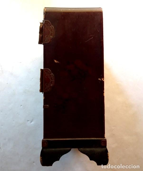 Antigüedades: ANTIGUO JOYERO – ARMARIO TOCADOR MINIATURA – LACADO - JAPÓN – JAPONISME - Foto 6 - 177055227