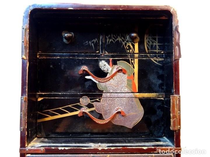 Antigüedades: ANTIGUO JOYERO – ARMARIO TOCADOR MINIATURA – LACADO - JAPÓN – JAPONISME - Foto 11 - 177055227