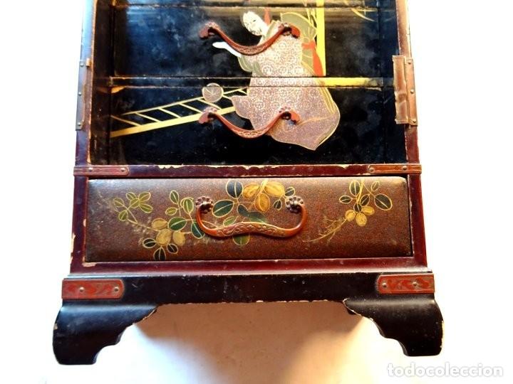 Antigüedades: ANTIGUO JOYERO – ARMARIO TOCADOR MINIATURA – LACADO - JAPÓN – JAPONISME - Foto 12 - 177055227