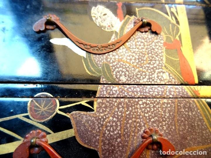 Antigüedades: ANTIGUO JOYERO – ARMARIO TOCADOR MINIATURA – LACADO - JAPÓN – JAPONISME - Foto 13 - 177055227