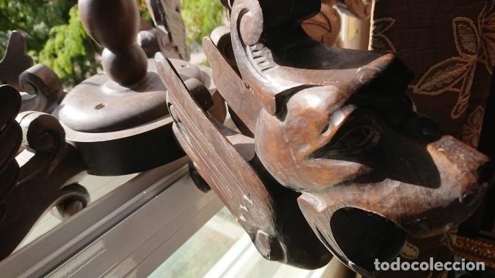 Antigüedades: ANTIGUA LAMPARA DE TECHO DE MADERA - Foto 7 - 177070277
