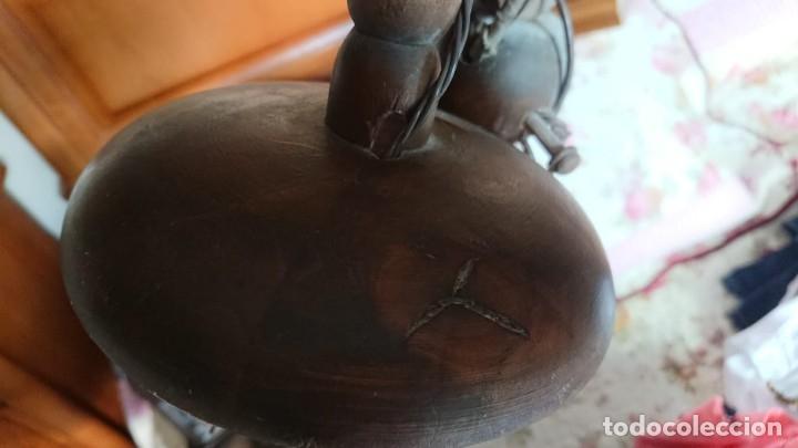 Antigüedades: ANTIGUA LAMPARA DE TECHO DE MADERA - Foto 8 - 177070277