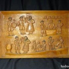Antigüedades: CUADRO TALLA MADERA MARAGATOS ALTORELIEVE.ASTORGA, MARAGATERIA.AÑOS 1960. Lote 177088999
