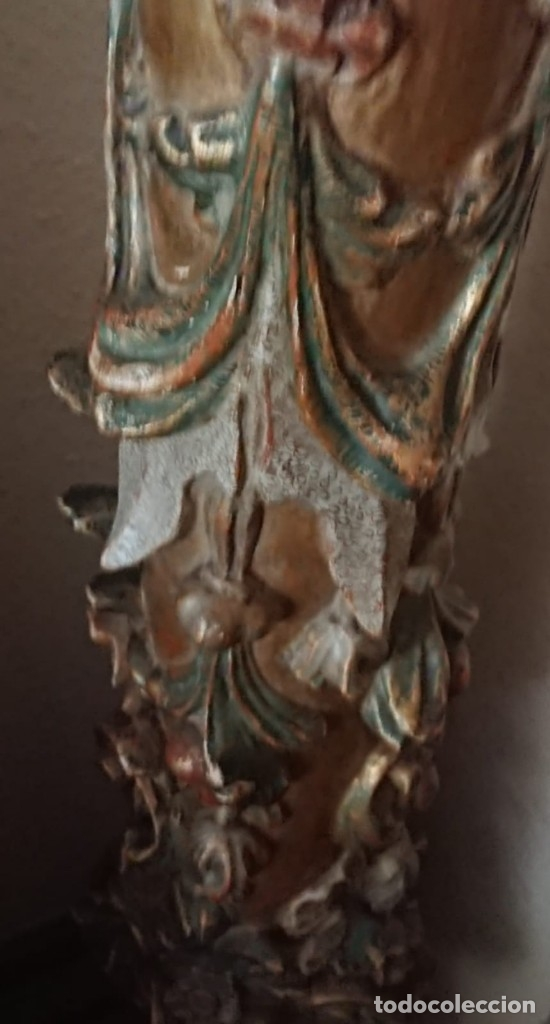 Antigüedades: ANTIGUA LAMPARA PIE MADERA TALLADA POLICROMADA - Foto 20 - 177123660