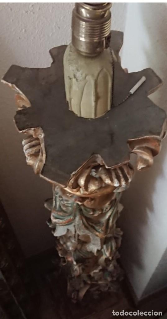 Antigüedades: ANTIGUA LAMPARA PIE MADERA TALLADA POLICROMADA - Foto 6 - 177123660