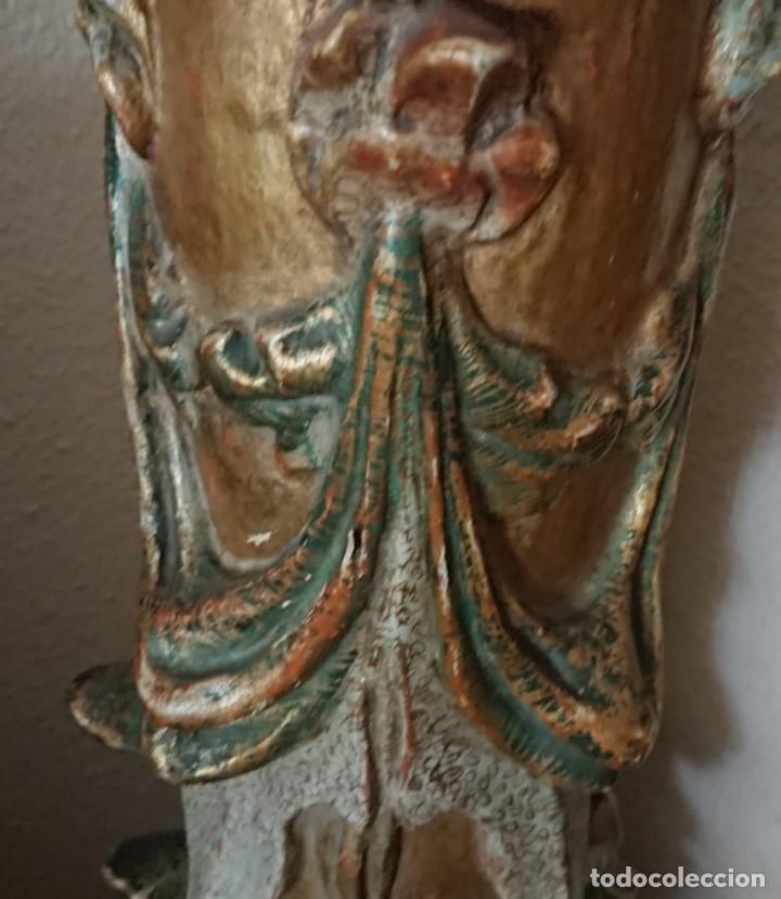 Antigüedades: ANTIGUA LAMPARA PIE MADERA TALLADA POLICROMADA - Foto 8 - 177123660