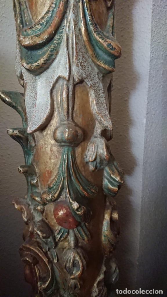 Antigüedades: ANTIGUA LAMPARA PIE MADERA TALLADA POLICROMADA - Foto 10 - 177123660