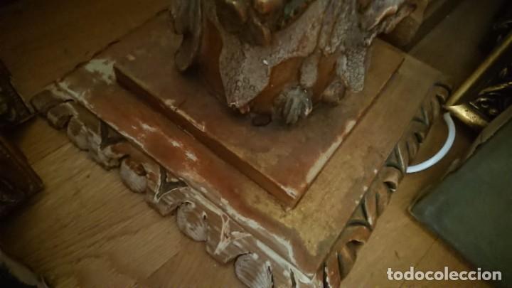 Antigüedades: ANTIGUA LAMPARA PIE MADERA TALLADA POLICROMADA - Foto 15 - 177123660
