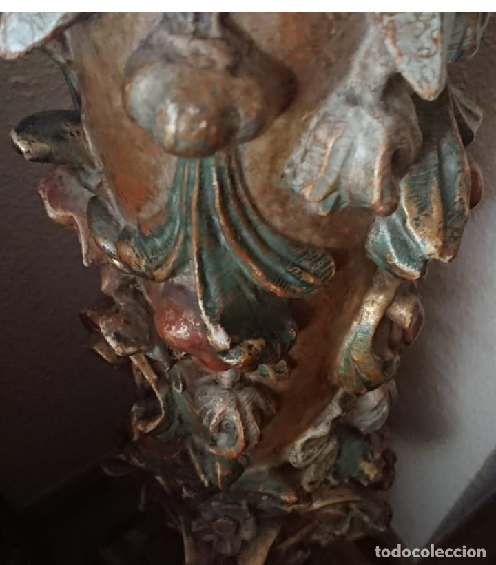 Antigüedades: ANTIGUA LAMPARA PIE MADERA TALLADA POLICROMADA - Foto 16 - 177123660