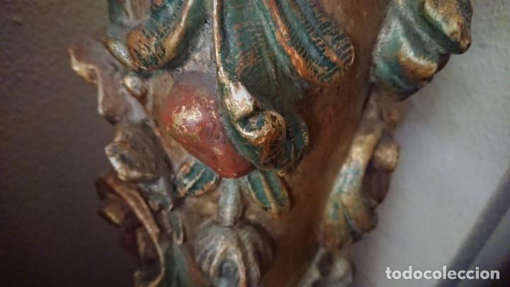 Antigüedades: ANTIGUA LAMPARA PIE MADERA TALLADA POLICROMADA - Foto 17 - 177123660