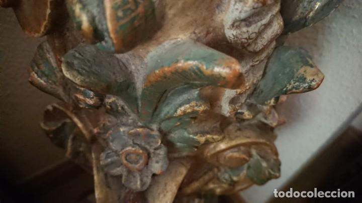 Antigüedades: ANTIGUA LAMPARA PIE MADERA TALLADA POLICROMADA - Foto 2 - 177123660