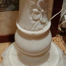 Antigüedades: LAMPARA PIE MARMOL TALLADO A MANO. Lote 177128244