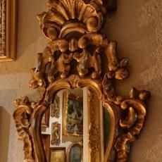 Antigüedades: ANTIGUO ESPEJO CORNUCOPIA MADERA TALLADA. Lote 177129583