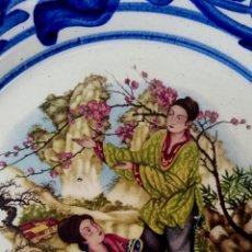 Antigüedades: ANTIGUO PLATO CHINO DE PORCELANA. DECORADO A MANO CON ESCENAS COSTUMBRISTAS ORIENTALES.. Lote 177137190