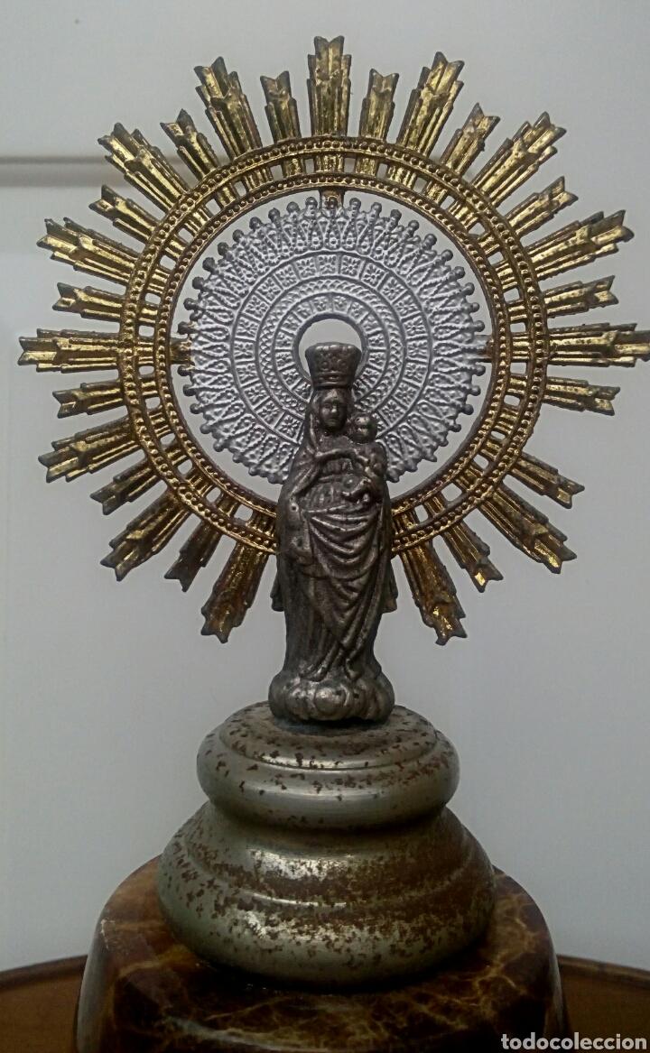 Antigüedades: Virgen del Pilar. Finales del siglo XIX. Mármol y metal plateado. - Foto 2 - 177141103