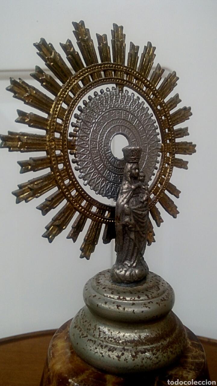 Antigüedades: Virgen del Pilar. Finales del siglo XIX. Mármol y metal plateado. - Foto 4 - 177141103