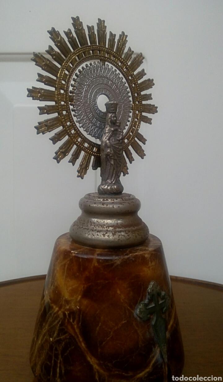 Antigüedades: Virgen del Pilar. Finales del siglo XIX. Mármol y metal plateado. - Foto 5 - 177141103