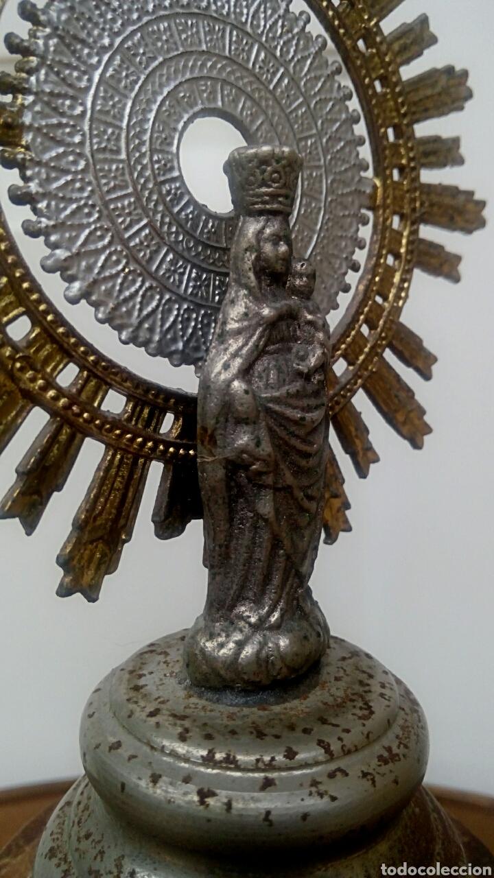 Antigüedades: Virgen del Pilar. Finales del siglo XIX. Mármol y metal plateado. - Foto 6 - 177141103
