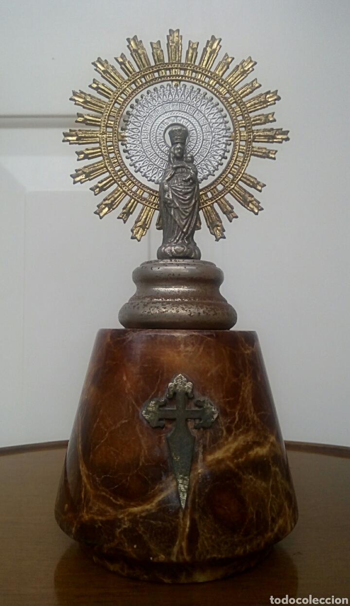 Antigüedades: Virgen del Pilar. Finales del siglo XIX. Mármol y metal plateado. - Foto 7 - 177141103