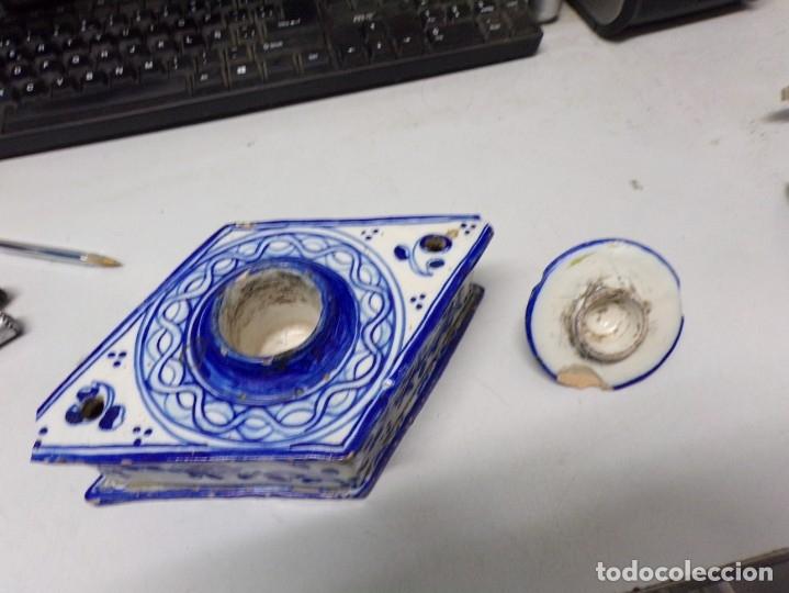 Antigüedades: antiguo tintero porcelana de talavera - Foto 4 - 177142745