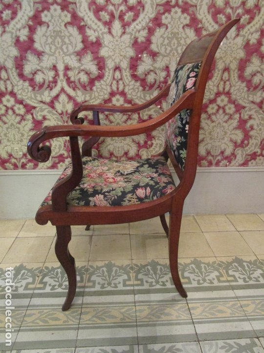 Antigüedades: Preciosa Pareja de Sillones Imperio - Madera de Caoba - Tapicería Perfecta, Original - S. XVIII-XIX - Foto 8 - 177187955