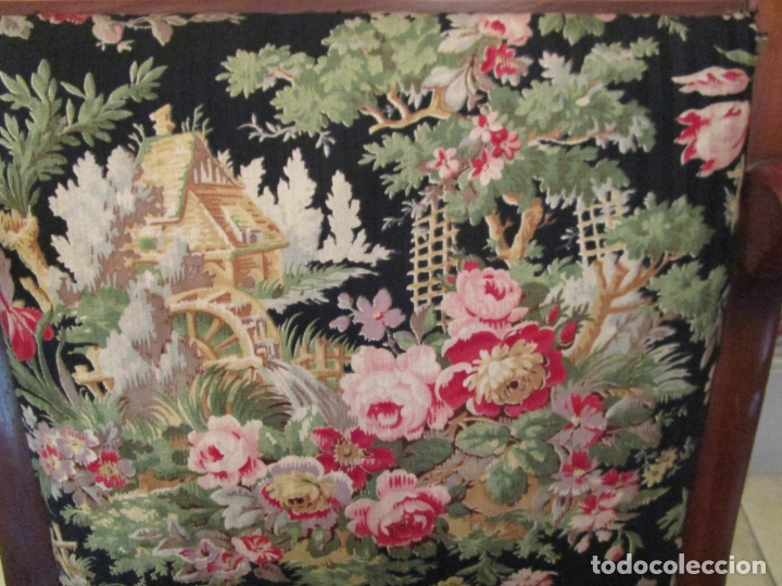 Antigüedades: Preciosa Pareja de Sillones Imperio - Madera de Caoba - Tapicería Perfecta, Original - S. XVIII-XIX - Foto 15 - 177187955