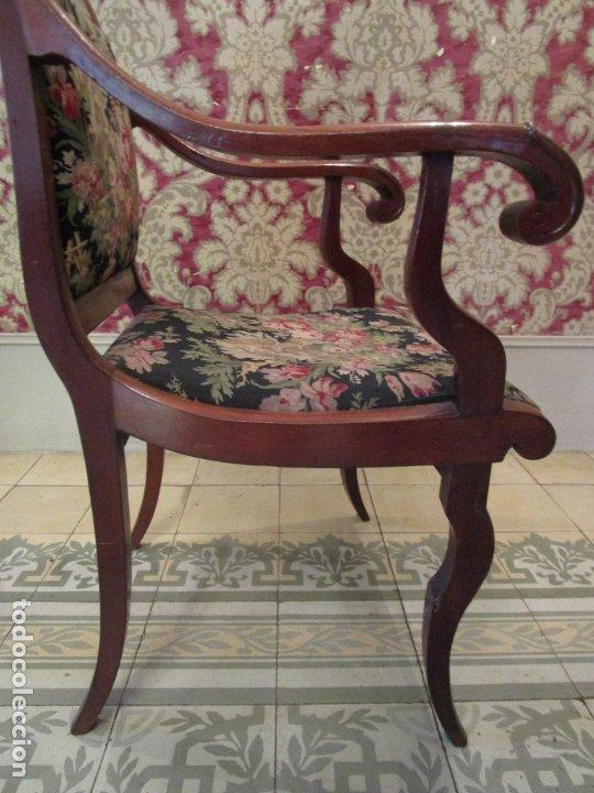 Antigüedades: Preciosa Pareja de Sillones Imperio - Madera de Caoba - Tapicería Perfecta, Original - S. XVIII-XIX - Foto 21 - 177187955